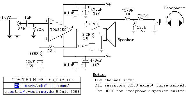 diy tda2050 hi-fi chip amplifier (chipamp), Circuit diagram