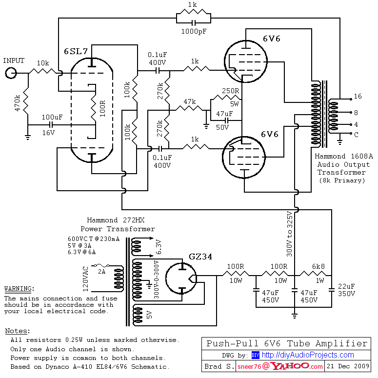 DIY Push-Pull (PP) 6V6 / 6V6GT Tube Amplifier Schematic