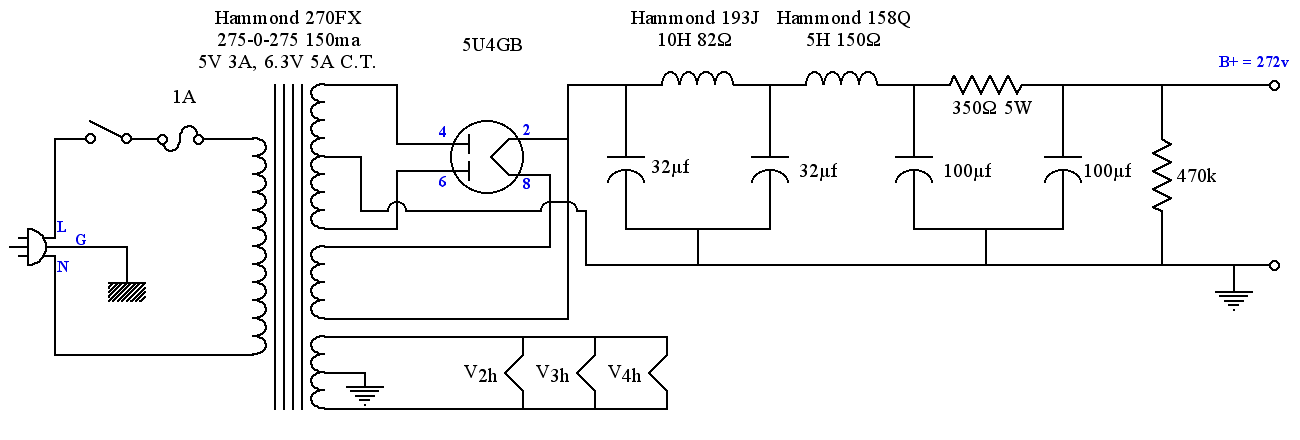diy 6v6 se-ul tube amplifier schematic - lacewood, Schematic