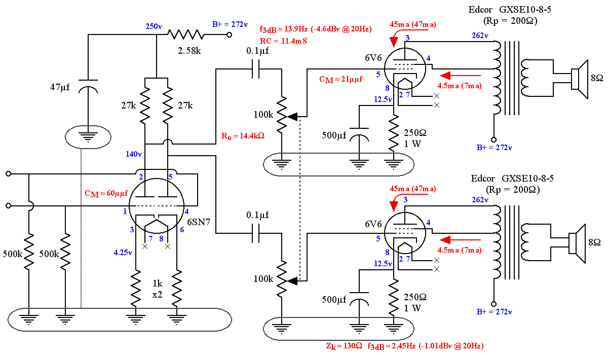 SE-UL 6V6 Tube Amplifier Schematic showing Both Channels