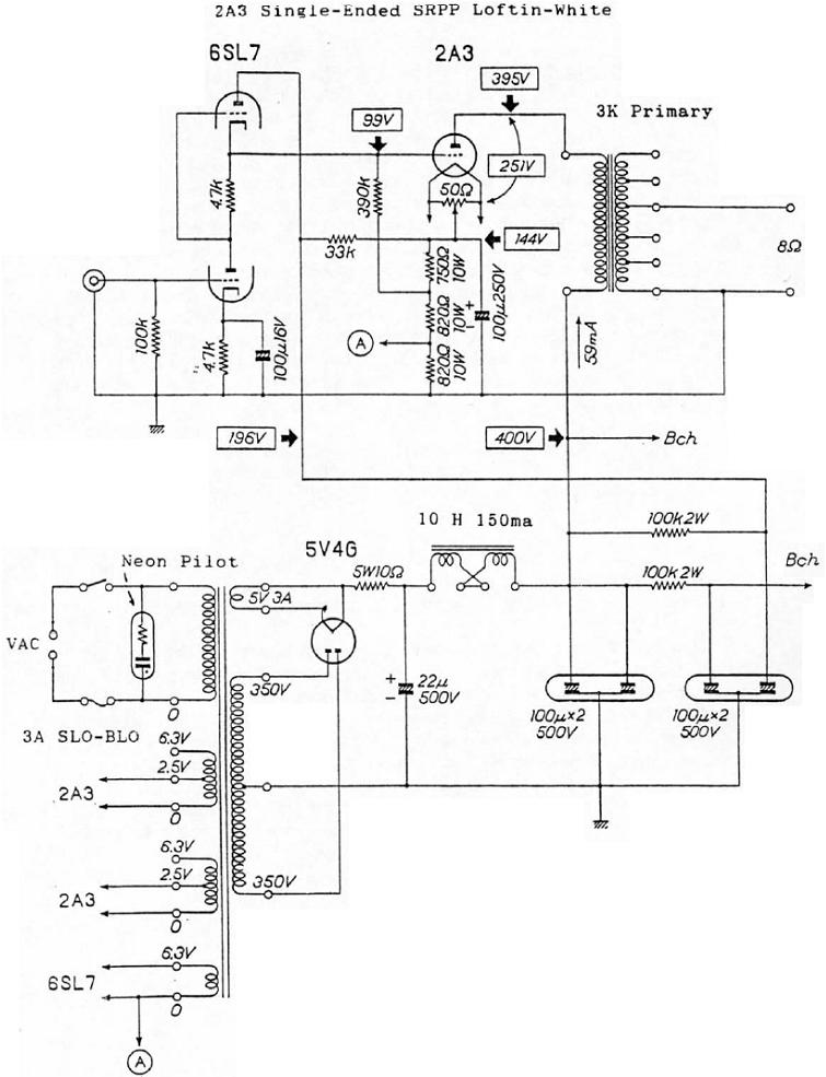 Loftin-White 2A3 Single-Ended Triode Tube Amplifier Schematic