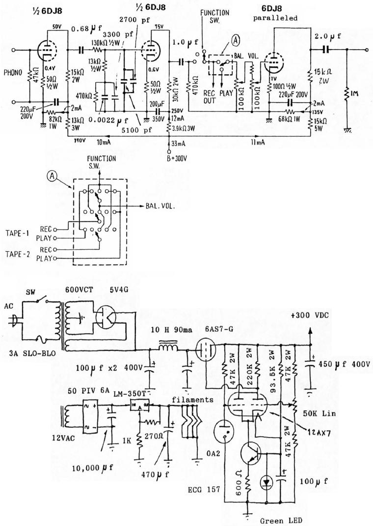 Tube Line In Phono Preamp Schematic Real Wiring Diagram Ham Qc10escb 6dj8 Riaa And Preamplifier Rh Diyaudioprojects Com Jfet Diy Schematics