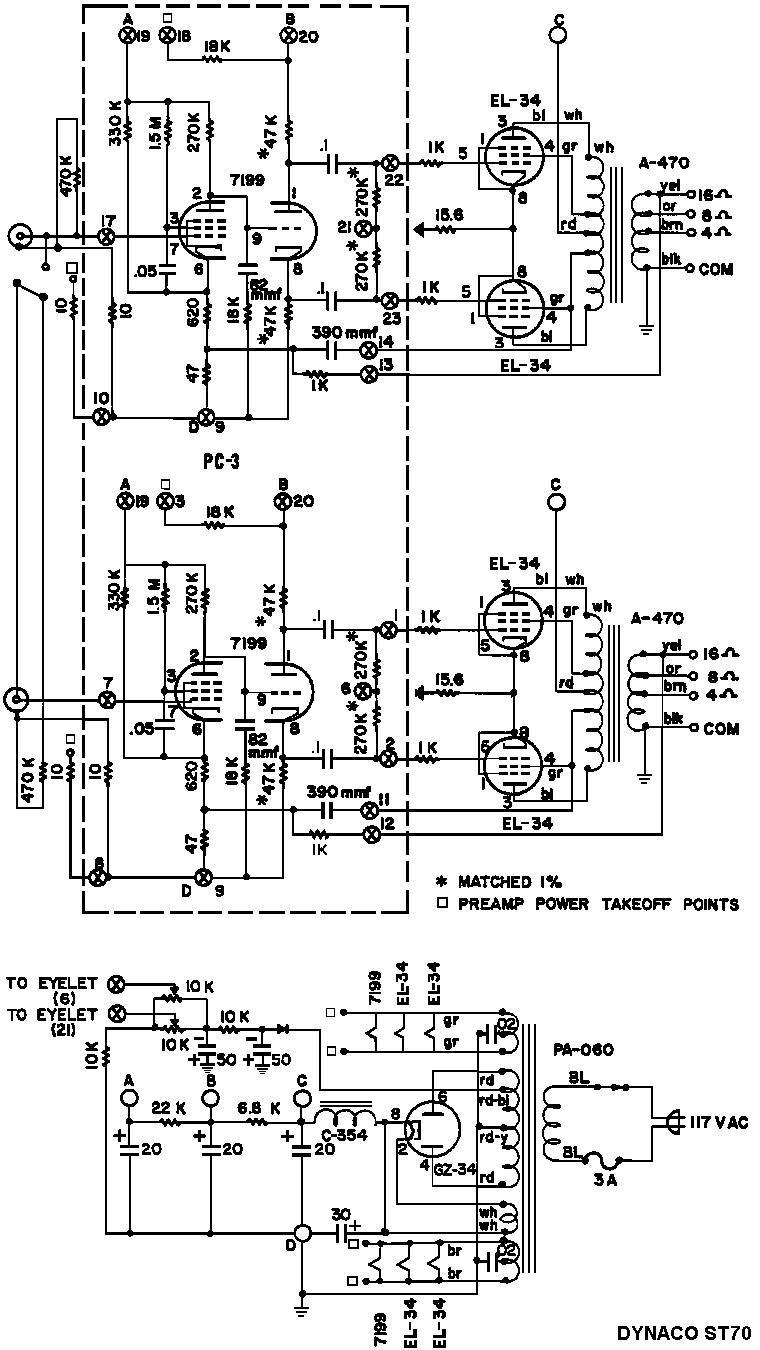 Dynaco ST70 Tube Amp Schematic dynaco dynakit stereo 70 (st70) tube amplifier schematic and manual dynaco st70 wiring diagram at reclaimingppi.co
