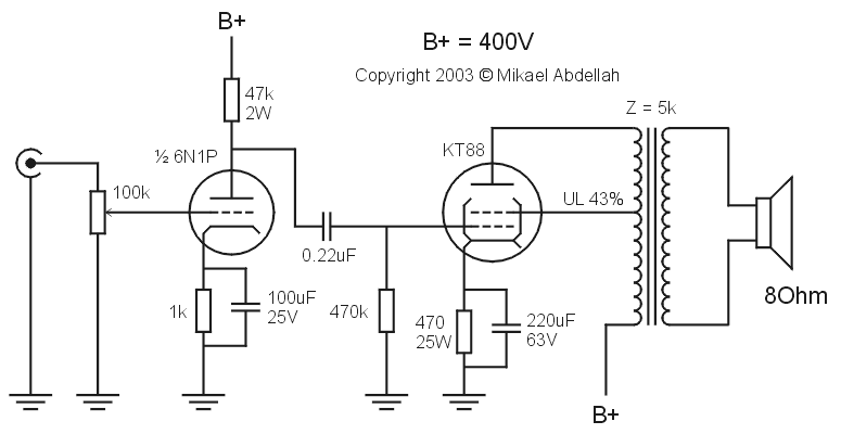 Mikael Abdellah SE KT88 Amplifier single ended (se) kt88 tube amplifier schematic (with 6n1p driver)  at readyjetset.co