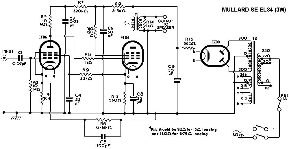 Mullard Single-Ended (SE) EL84 Tube Amplifier Schematic EL-84DIY Audio Projects