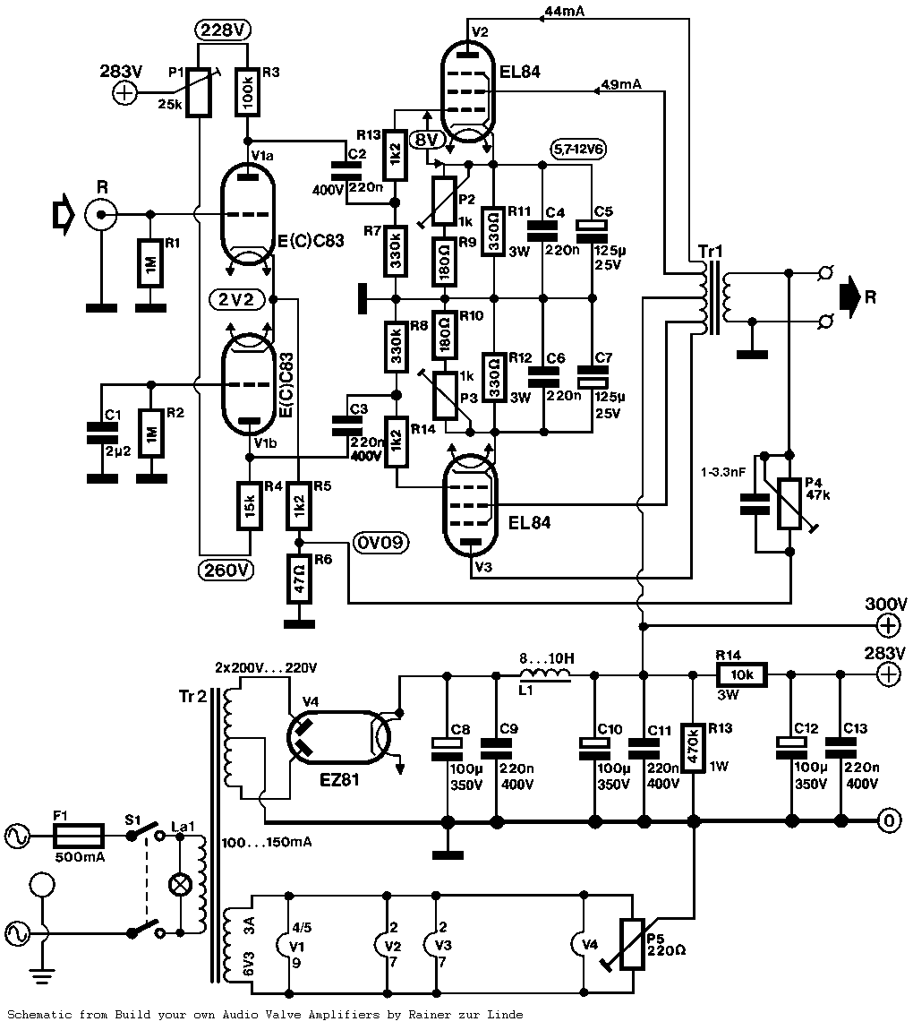 Push Pull PP EL84 Tube Amplifier Schematic ECC83 input