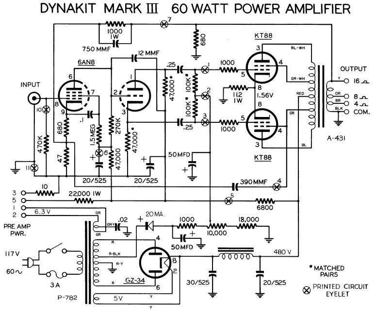 dynaco dynakit mark iii tube amplifier schematic and manual rh diyaudioprojects com 6 Channel Amp Wiring Diagram Car Amplifier Wiring Diagram