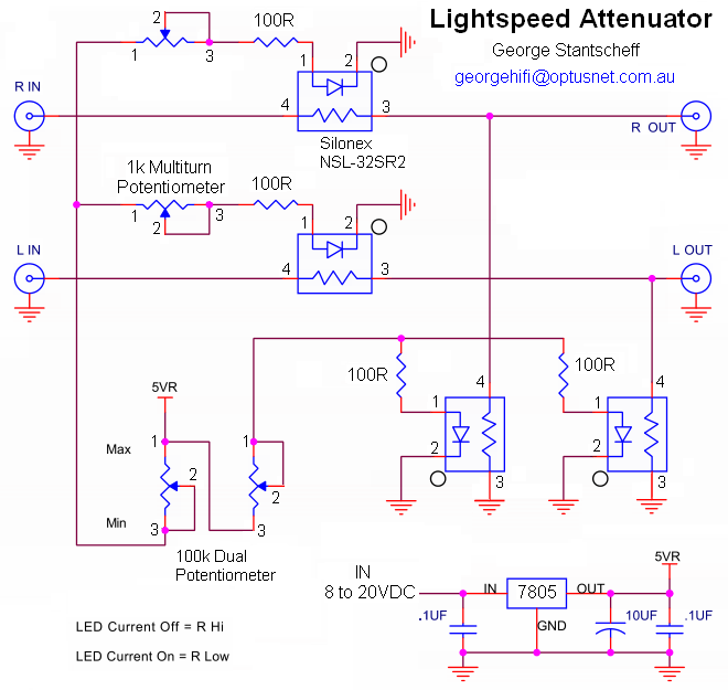 Lightspeed Passive Attenuator Schematic diy lightspeed attenuator passive ldr volume control (optocouplers) Home Speaker System Wiring Diagram at cos-gaming.co
