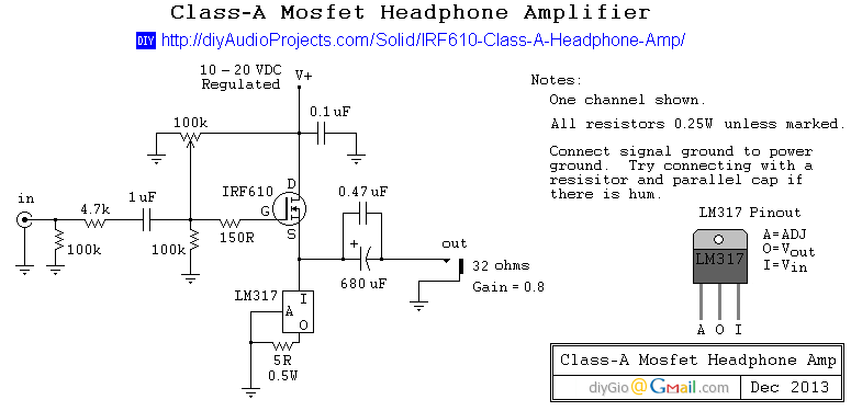 diy irf610 mosfet class a headphone amplifier project rh diyaudioprojects com headphone amplifier schematic class a stax headphone amplifier schematic