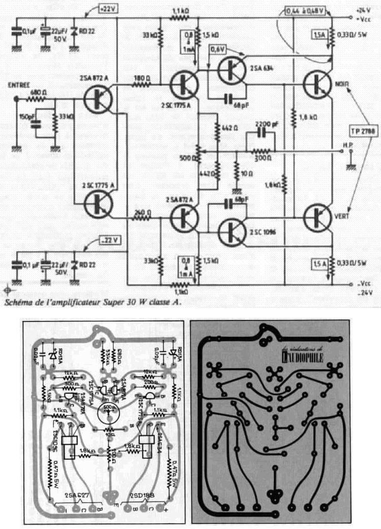 Figure 1: Jean Hiraga's Super Class-A 30W Amplifier Schematic and PCB