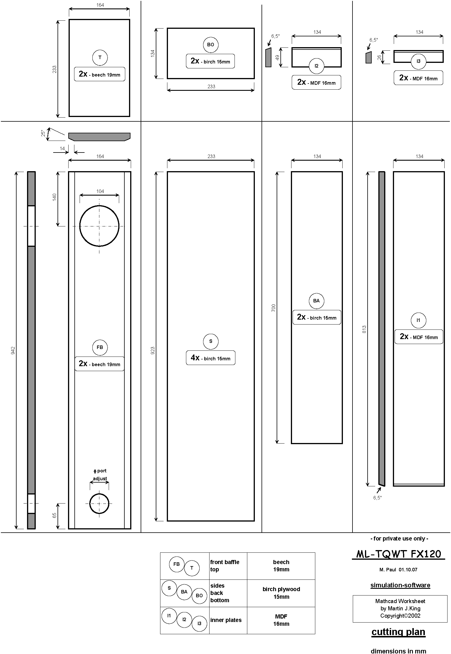 Fostex FX120 ML-TQWT (transmission line) Cutting Plan