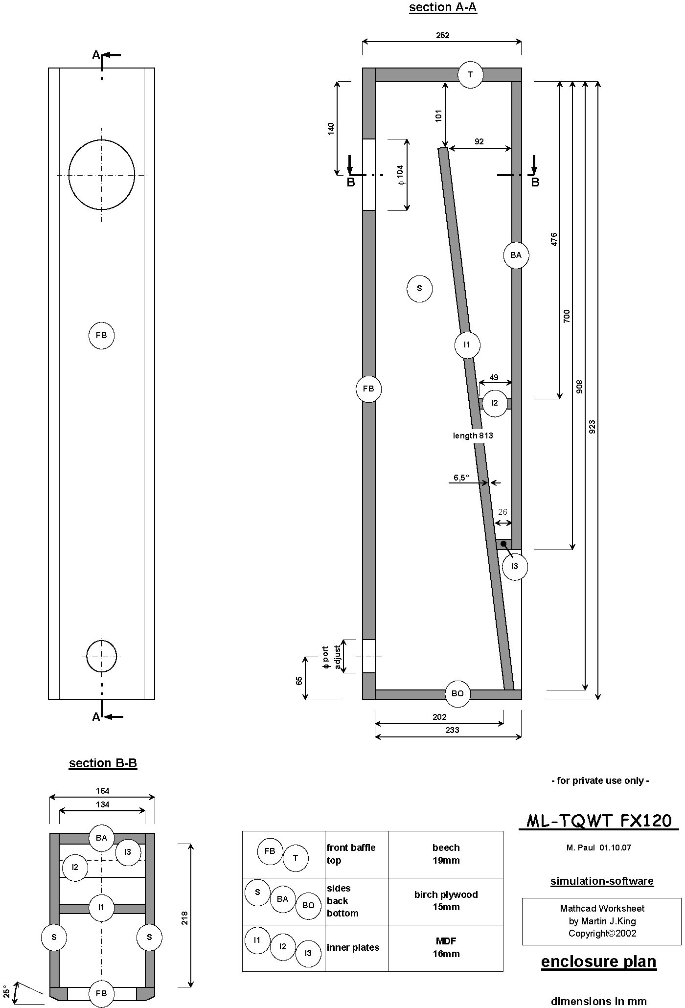 Fostex Fx120 Ml Tqwt Transmission Line Enclosure Plan Drawing