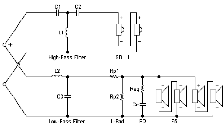 diy center channel speaker hivi f and sd a hivi f5 sd1 1a crossover schematic