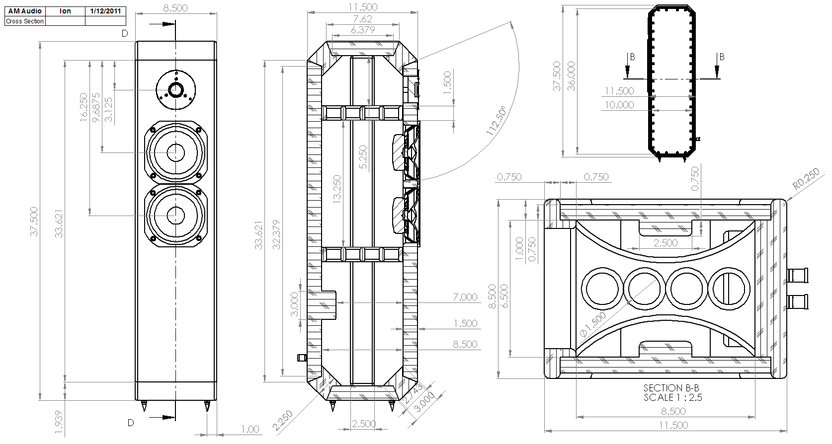 Line Art Box Design : Ion way tmm tower loudspeaker enclosure drawing