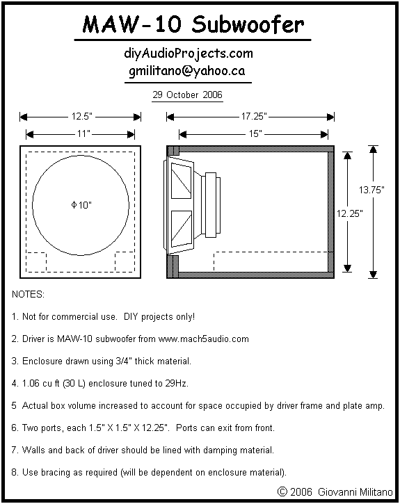 Drawing 01: MAW-10 Ported Subwoofer Enclosure Plan