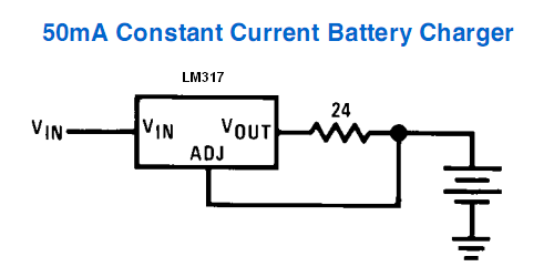 Lm317 lm338 lm350 current regulator calculator and circuits 50ma constant current battery charger schematic for lm317 publicscrutiny Choice Image