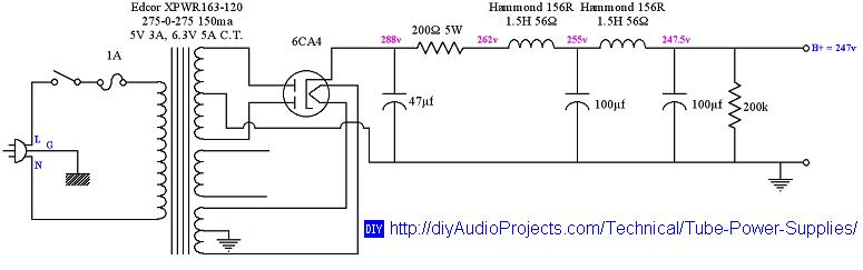 vacuum tube power supply design rh diyaudioprojects com