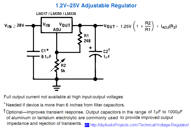 lm317 lm338 lm350 voltage regulator calculator and circuits rh diyaudioprojects com lm317 adjustable voltage regulator circuit lm317 adjustable voltage regulator circuit diagram