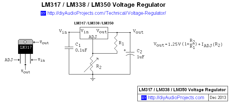 LM317 LM338 LM350 Voltage Regulator Calculator and