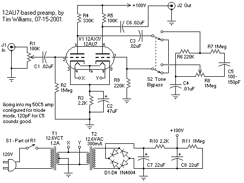 12AU7 Tube Preamplifier Schematic by Tim William