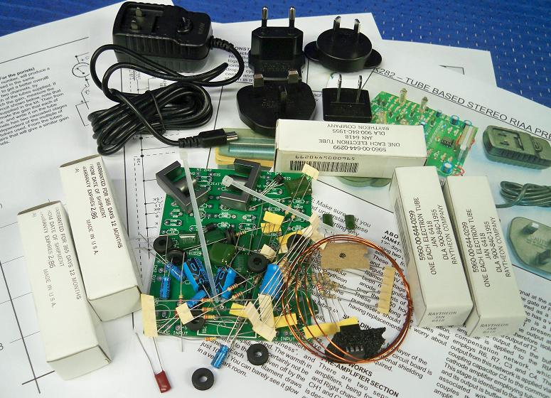 Oatley Electronics K282 Tube Based Stereo RIAA Preamplifier Kit Contents