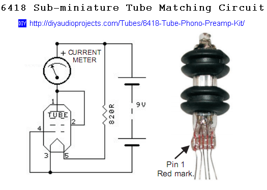 Sub-miniature 6418 Pentode Tube Matching Circuit Schematic