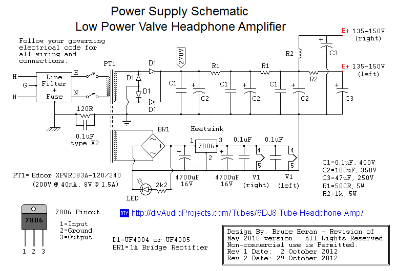 Valve Headphone Amp Power Supply Schematic diy 6dj8 (ecc88) tube hi fi headphone amplifier project High-End Tube Amp Schematics at panicattacktreatment.co