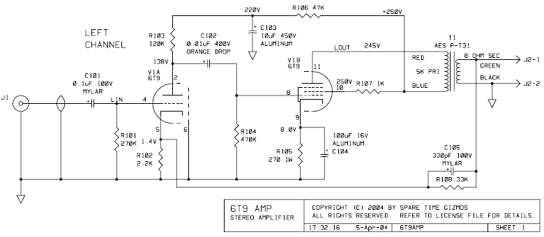 6T9 Single-Ended Tube Amp Schematic