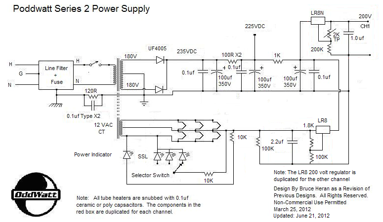 EL84 6BQ5 Push Pull Valve Amp Power Supply Schematic poddwatt class a stereo push pull el84 (6bq5) vacuum tube amplifier  at crackthecode.co