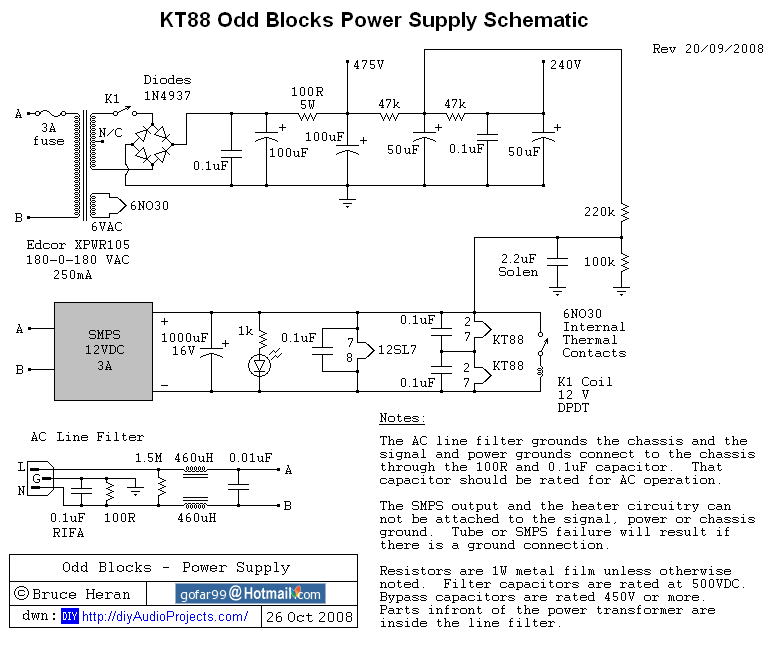 12SL7 KT88 Push Pull Tube Amp Power Supply Schematic oddblocks class a push pull kt88 tube amplifier (12sl7 driver) High-End Tube Amp Schematics at panicattacktreatment.co