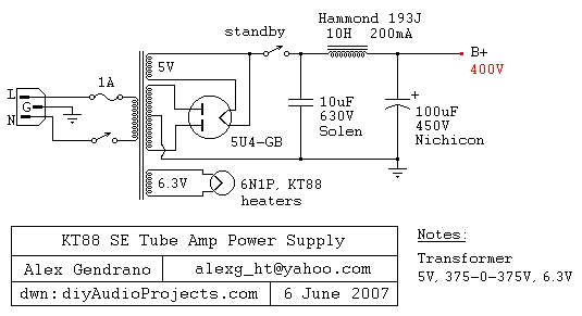 5U4-GB Tube Power Supply Schematic