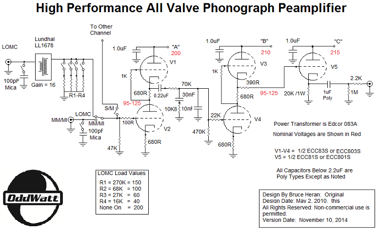vacuum tube preamp schematic  | diyaudioprojects.com