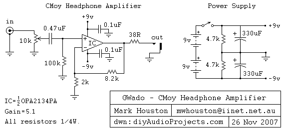 Opa Pa Cmoy Headphone  lifier Schematic on headphone amp schematic