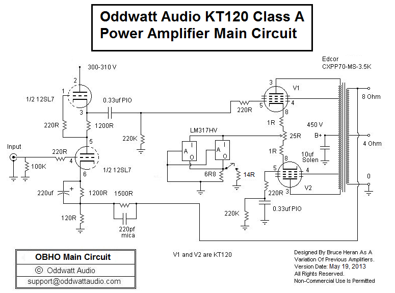 KT120 Push-Pull Tube Amplifier Schematic (Oddwatt Audio OBHO)