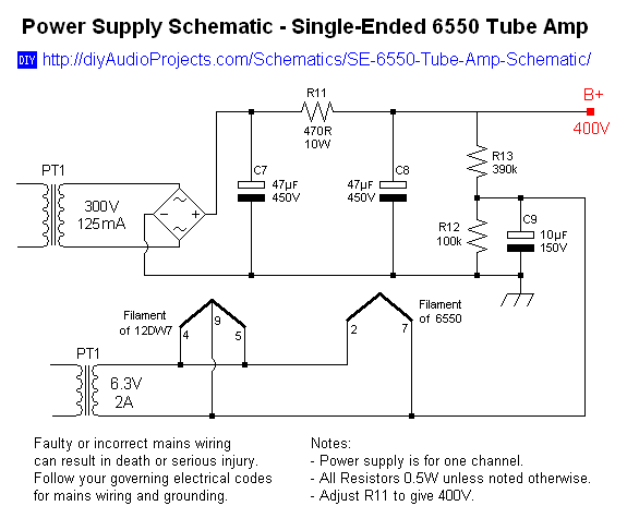 Single-Ended (SE) 6550 Tube Amplifier Schematic