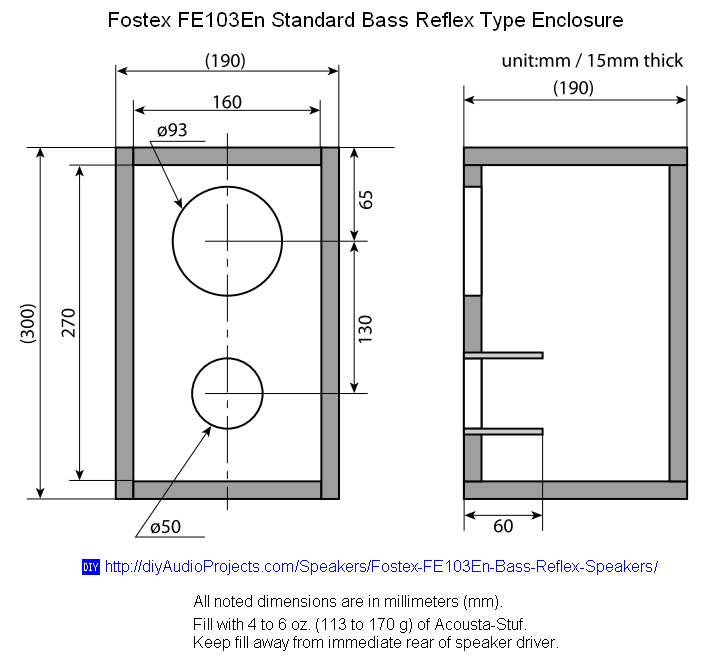 Fostex fe103en diy bass reflex bookshelf speakers for Ukuran box salon 8 inch