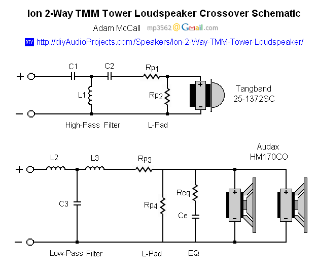 Ion Crossover Schematic passive speaker crossover circuit diagram circuit and schematics tower speaker wiring diagram at alyssarenee.co