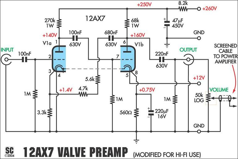 12ax7 tube  valve  preamplifier kit