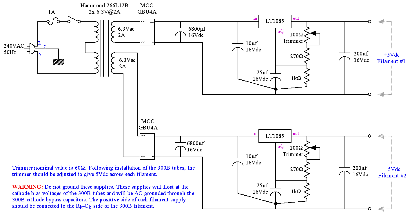 Diy 300b Single Ended Triode Set Hi Fi Amplifier Project Wiring Diagrams Get Free Image About Diagram 5v Regulated Power Supply Schematic For Heater Filament