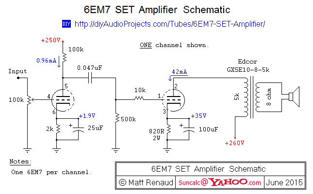 6EM7 Single-Ended Triode (SET) Vertical Amplifier