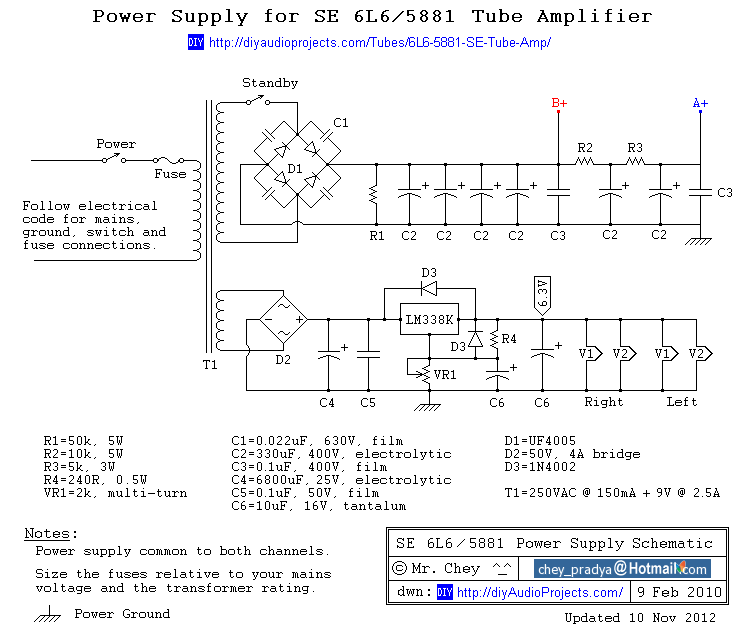 DIY Single-Ended (SE) 6L6 / 5881 Tube Amplifier