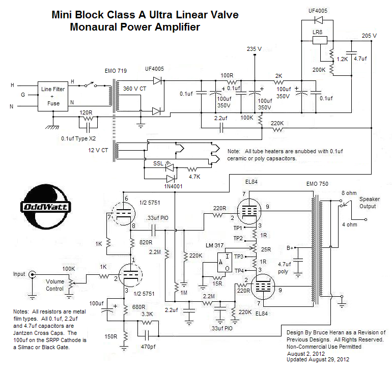Mini Block Ultra-Linear Class-A Push-Pull EL84 (6BQ5) Valve