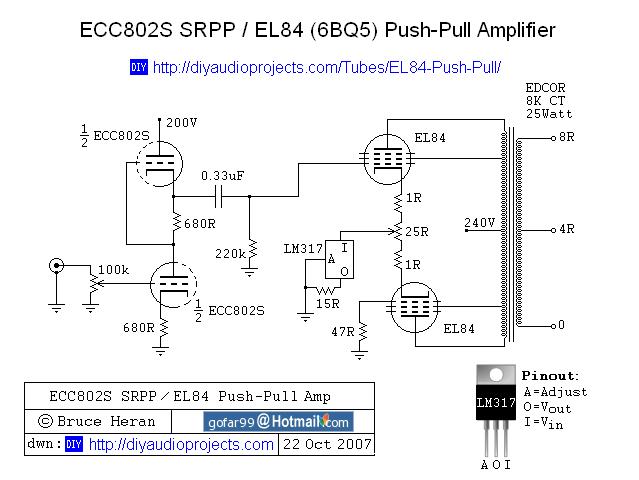 DIY ECC802S SRPP / EL84 (6BQ5) Push-Pull Tube Amplifier