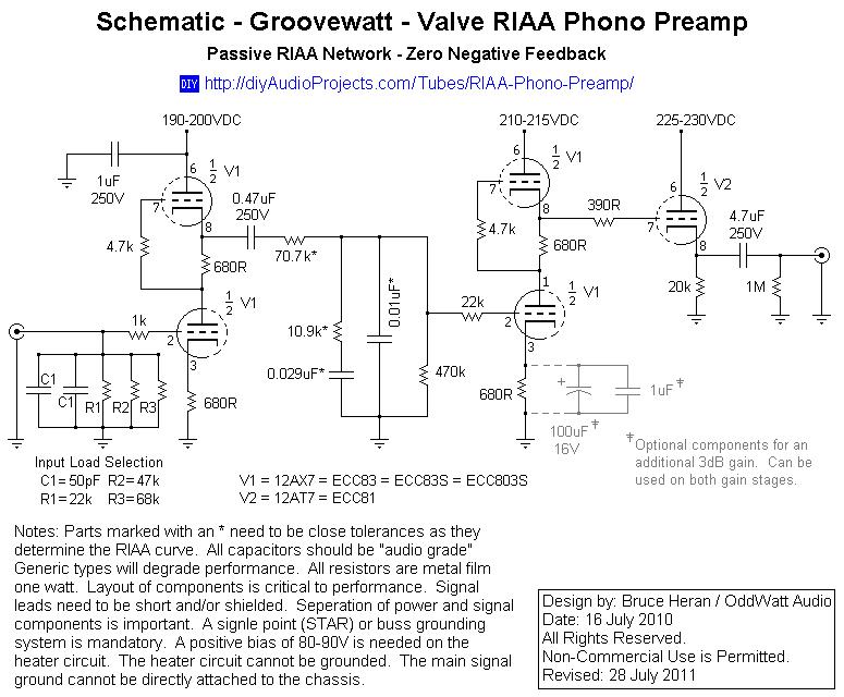 Groovewatt a DIY Vacuum Tube (Valve) RIAA Phono Preamplifier Project